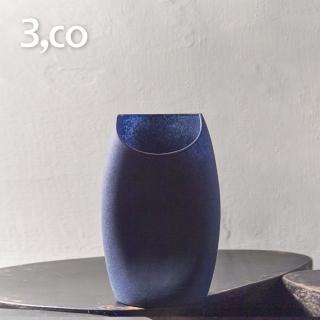 【3,co】玻璃月型口扁平花器-藍(8號)