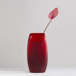 【3,co】玻璃月型口扁平花器-紅(8號)