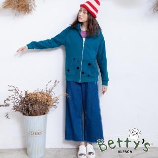 【betty's 貝蒂思】後鬆緊側配色抽鬚牛仔褲(藍色)