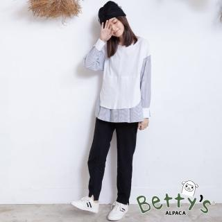 【betty's 貝蒂思】半鬆緊小開衩長褲(黑色)