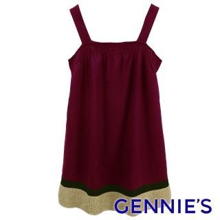 【Gennies 奇妮】典雅品味羊毛肩帶洋裝(紫紅/紫G2Y07)