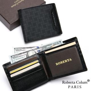 【Roberta Colum】尊爵頭層牛皮暗袋12卡2照可拆式左右翻短夾