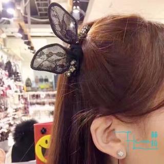 【HERA 赫拉】明星同款日韓蕾絲水鑽兔耳朵髮飾(蕾絲 水鑽  兔耳朵  明星同款)