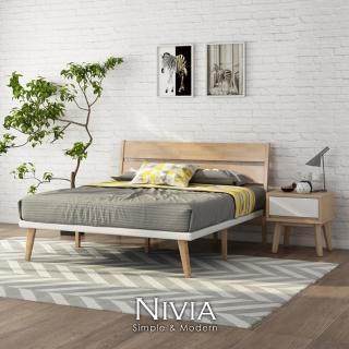 【obis】Nivia北歐實木雙人床架(適用150cm×186cm床墊)