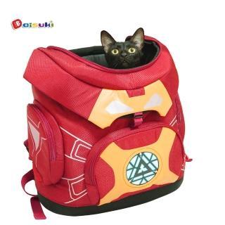 【Daisuki】鋼甲人後背小型寵物袋 FD01-MR(可承重8kg 會發亮 寵物包)