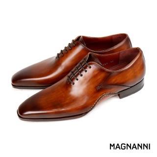 【MAGNANNI】西班牙手工復古刷色素面綁帶紳士皮鞋(棕色 19564-CUE)