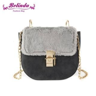 【Belinda】蔚英駱絨毛鍊條側背馬蹄包-三色