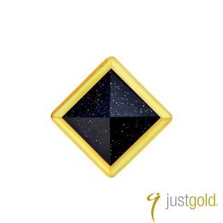 【Just Gold 鎮金店】搖滾鉚釘純金系列 黃金單耳耳環-小(藍金砂石)