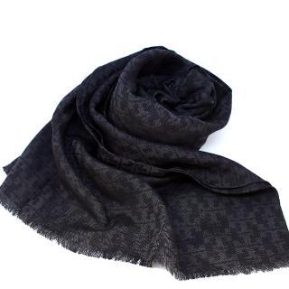 【TORY BURCH】經典LOGO蠶絲羊毛長圍巾(黑色)