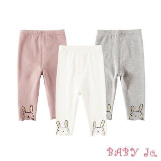 【BABY Ju 寶貝啾】韓版可愛兔子印花捲邊褲(粉色 / 白色 / 灰色)