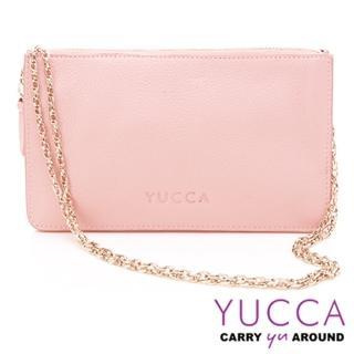 【YUCCA】牛皮淑女優雅手拿鏈帶包-粉紅(D0020025009)