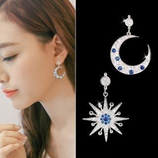 【梨花HaNA】無耳洞韓國星願幻境星月綴藍鑽不對稱耳環耳夾(耳夾)