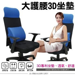 【Z.O.E】卡奇斯高背護腰網椅/3D立體坐墊(藍色)