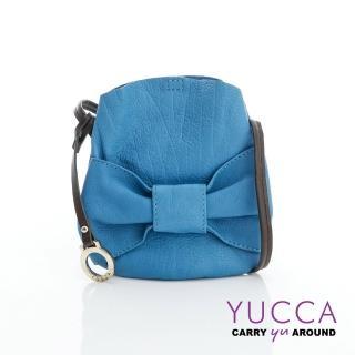 【YUCCA】甜美蝴蝶結牛皮小包-土耳其藍(D013124)