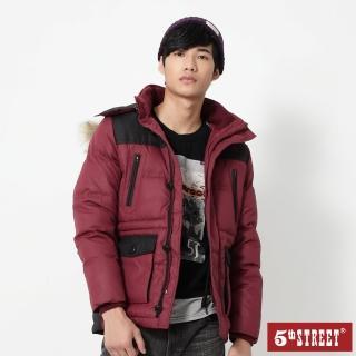 【5th STREET】男中長版羽絨長袖外套-朱紅
