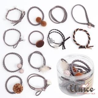 【UNICO】韓版百變組合12件髮圈橡皮筋組合盒裝-I(配件)