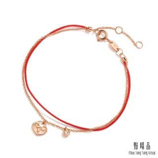 【點睛品】Wrist Play 如意 18K玫瑰金鑽石紅繩手鍊