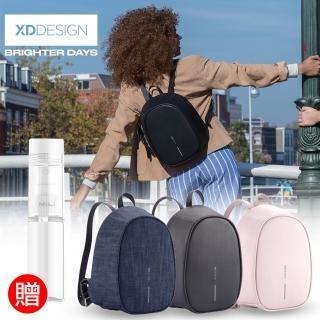 【XDDESIGN】BOBBY ELLE 專為女性設計 時尚皮革/丹寧防盜後背包(桃品國際公司貨)
