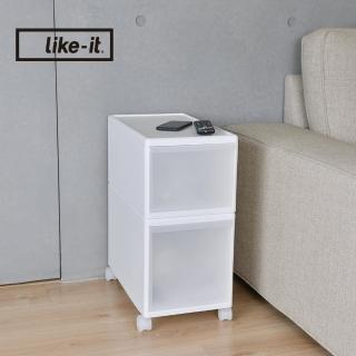 【日本like-it】UNI-COM自由疊砌抽屜附輪收納櫃-2入組-1高1低-寬25.5cm