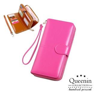 【DF Queenin】熱銷皮質感多功能手機包長夾-共4色