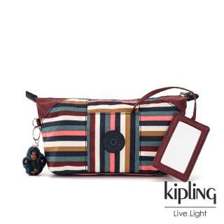 【KIPLING】繽紛仲夏條紋附隨身鏡化妝包-ART POUCH
