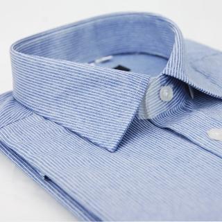 【金安德森】仿舊藍底白線條窄版長袖襯衫-fast