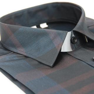 【金安德森】黑底寬條紋亮面壓光窄版長袖襯衫-fast