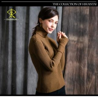 【玄太】高領拇指袖衩開口棉質針織上衣(綠褐)