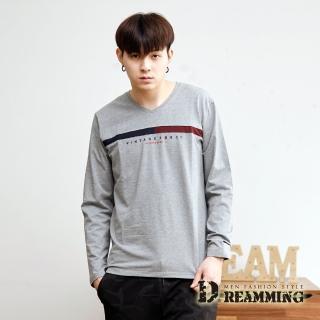 【Dreamming】簡約拼接萊卡彈力長袖V領T(共二色)