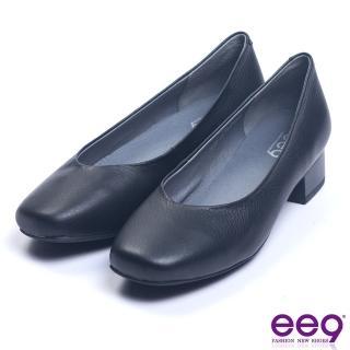 【ee9】芯滿益足經典簡約百搭素面粗跟鞋 黑色(粗跟鞋)