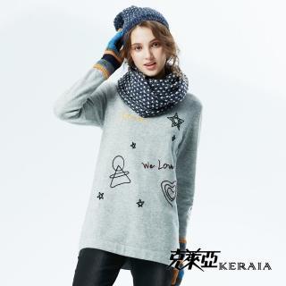 【KERAIA 克萊亞】趣味刺繡羊毛長上衣
