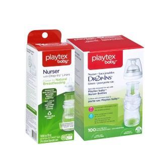 【美國Playtex】防脹氣拋棄式奶瓶組 118ML/4oz(拋棄式奶瓶*1+替換袋105入)
