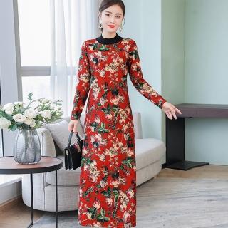 【ALICAI 艾麗彩】復古滿版含苞未放小黃印花洋裝(中大尺碼/三色/M-4XL)