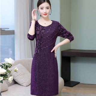 【ALICAI 艾麗彩】閃亮紫金蔥蕾絲圓弧釘鑽洋裝(中大尺碼/M-4XL)