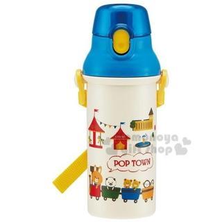 〔小禮堂〕森林小動物 日製直飲水壺《藍蓋.米.小火車.遊樂園》480ml.附背帶