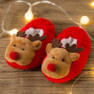 【媽咪可兒】聖誕限定-3D立體動物造型保暖室內鞋/保暖鞋襪/襪套/地板襪(麋鹿)
