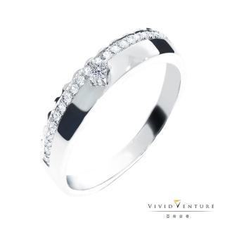 【Vividventure 亞帝芬奇】13分 天然真鑽 鑽石線戒 皇冠之愛(銀台)