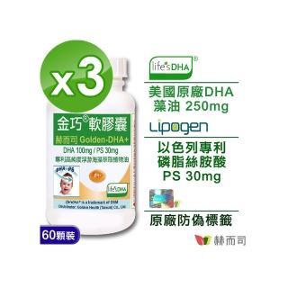 【赫而司】金巧軟膠囊Golden-DHA藻油升級版+PS(60顆x3罐/組)