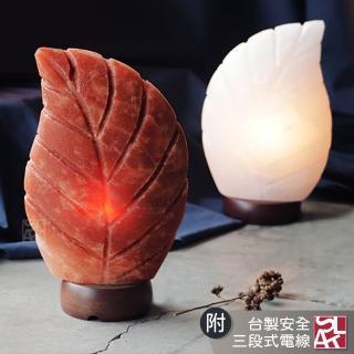 【鹽夢工場】一葉致富-白/富貴紅(造型原礦鹽燈)