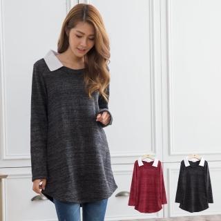 【衣心衣意】韓版素面好穿雪花布長版上衣(黑色-紅色TA1A3623)