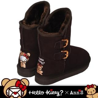 【Ann'S】HELLO KITTY X Ann'S棕色熊熊側面雙扣2穿彩色刺繡真皮雪靴(棕)