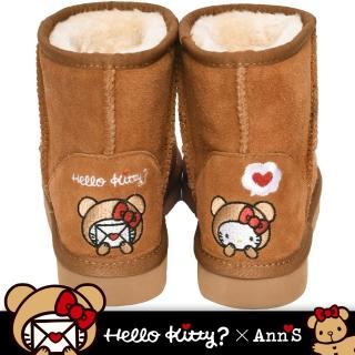 【Ann'S】HELLO KITTY X Ann'S棕色熊熊精密彩色刺繡超短筒麂皮雪靴(棕)