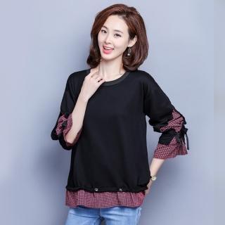 【MsMore】知性韓風時尚格紋拼接假兩件上衣103415#j(黑色)