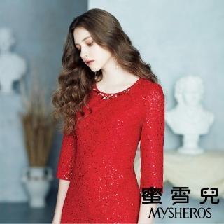 【mysheros 蜜雪兒】珍珠亮片玫瑰洋裝(紅)