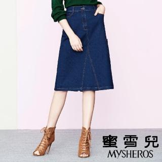 【mysheros 蜜雪兒】單寧假開岔彈性牛仔裙(藍)