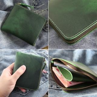 【玩皮工坊】真皮復古瘋馬牛皮復古變色輕薄便攜拉鏈皮夾皮包硬幣包零錢包男夾LH198(7色可選)