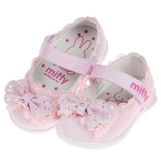 【布布童鞋】Miffy米飛兔蕾絲滾邊粉色花童寶寶公主鞋(L8P012G)