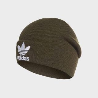 【adidas 愛迪達】毛帽 Trefoil Beanie 男女款 愛迪達 秋冬必備 保暖 針織 三葉草 綠 白(DH4298)
