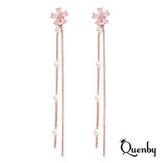 【Quenby】925純銀 戀愛系仿粉水晶玫瑰金長流蘇耳環/耳針-珍珠款(飾品/配件)