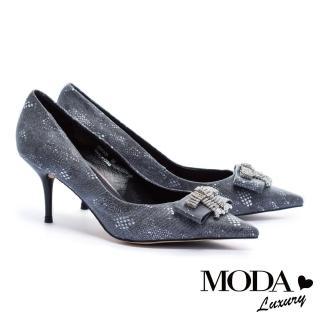 【MODA Luxury】超絕美華麗水鑽飾釦細高跟鞋(灰)